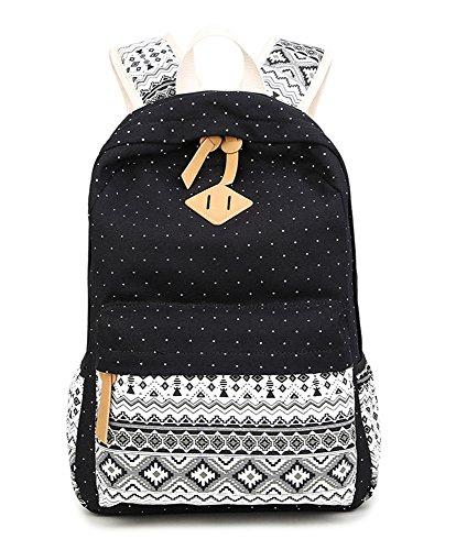 SQLP Schulrucksack Mädchen Teenager Damen Casual Canvas Rucksack Set +Schultertasche +Geldbeutel/Mäppchen Jugendliche Freizeitrucksack Daypacks (schwarz)