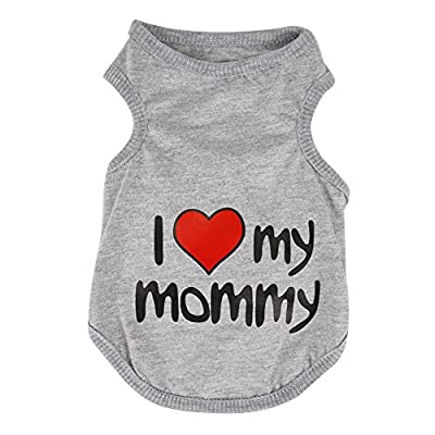 Eleery New Cute Pet Dog I LOVE MY MOMMY Print T-shirt Clothes Vest Coat Puppy Costumes Outfit Small Dog Pet Apparel