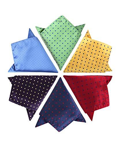 Hisdern Mens Hochzeit Taschentuch Polka Dots Hanky ??Printing Verschiedene Muster 6 Stuck Einstecktuch -