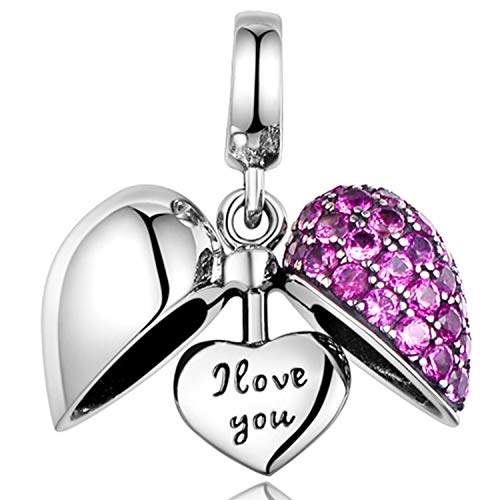 Ich liebe dich - 925 Sterling Silber Kristall Charm - Silber Herz Bead für Pandora Armband (Swarovski-charme-armband)