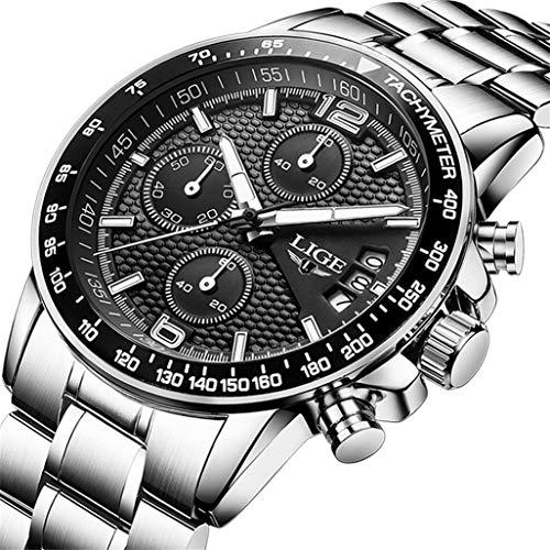 LIGE orologio da uomo acciaio inossidabile impermeabile sportivo cronografo tempo libero moda affari quarzo orologio (quadrante nero grande)
