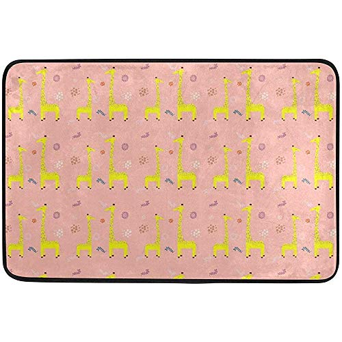 Klotr Fußabtreter, Bath Mat Non Slip Super Absorbent Cute Pink Giraffe Cartoon Bathroom Rug Indoor Carpet Doormat Floor Dirt Trapper Mats Shoes Scraper 24x16 inch -
