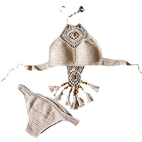 TWIFER Boho Bikini handgemachte Gestrickte Split Badeanzug Strand mit Fransen