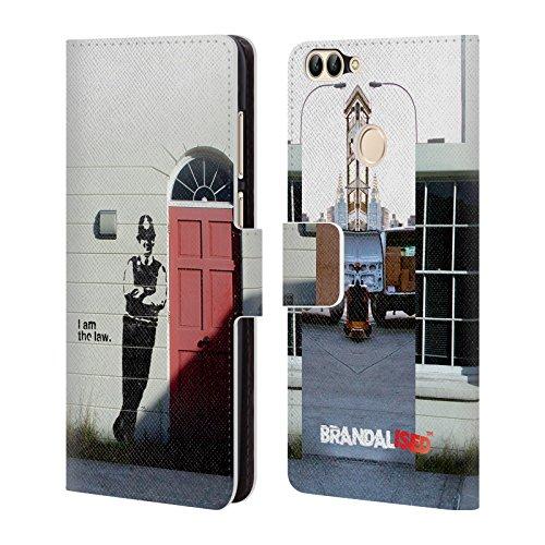 Head Case Designs Offizielle Brandalised Ich Bin Das Gesetz Straßengraffiti Brieftasche Handyhülle aus Leder für Huawei P Smart/Enjoy 7S (Gesetz Erwachsene T-shirt)