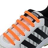 Newkeen No Tie Lacets pour les enfants et adultes, imperméables Silicon Flat élastiques Lacets de sport course de chaussures pour Shoes Sneaker Conseil Bottes et Souliers (Orange)