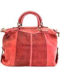5a655d4c8d467 BZNA Bag Emely rot Rosso Italy Designer Damen Ledertasche Handtasche  Schultertasche Tasche Leder…