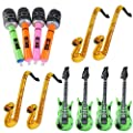 NUOLUX 12Pcs Inflatable Saxophone Guitar Microphone Toy for Party Bags Random Color