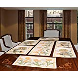 Avira Home Floral Stalks Table Mats And Runner, Set Of 7, (Yellow)