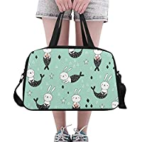 Plosds Casual Handbag Seamless Pattern Cute Bunnies Mermaids On Yoga Gym Totes Fitness Handbags Duffel Bags Shoe Pouch For Sport Luggage Womens Outdoor Sports Laptop Bag
