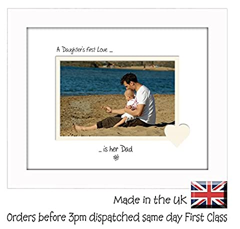 A Daughter's First Love is her Dad Personalised Double Mounted Landscape 9 x 7 Photo Frame (White Finish Frame White Mount Cream Inside)
