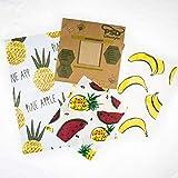 Enveloppement à la cire d'abeille | Stasher alimentaire non plastique, écologique et réutilisable | Zéro déchet organique | Alternative au film étirable | set 3