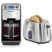 Hamilton Beach 12Cup Digital Automatic LCD Coffeemaker + 2-Slice Digital Toaster