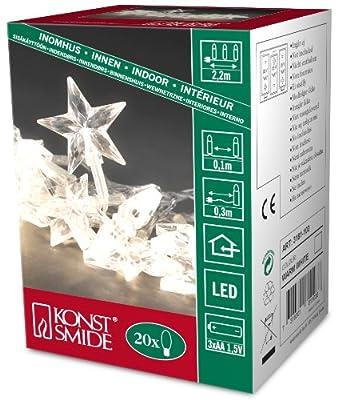 Konstsmide LED Dekokette, 20 transparente Acryl Sterne, 20 warm weiße Dioden, batteriebetrieben, transparentes Kabel, 3xAAA 1.5 V exklusiv 3181-103 von Konstsmide auf Lampenhans.de