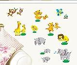 ufengke® Glücklich Zoo Schönen Tiere Affen Bären Flusspferde und Elefanten Löwen Kängurus Wandsticker,Kinderzimmer Babyzimmer Entfernbare Wandtattoos Wandbilder