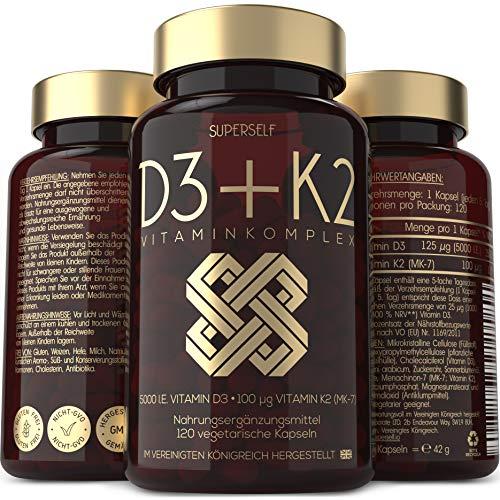 Vitamin D3 K2 Kapseln - Hochdosiert mit Vitamin D3 5000 IE und Vitamin K2 MK7 100 µg All Trans - 120 Tabletten - Vegetarisch, Laborgeprüft, Hergestellt gemäß GMP