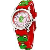 Happy Cherry Kinder Jungen Mädchen Analog Quarz Armbanduhr - Rot Armband Cartoon Frosch Pattern