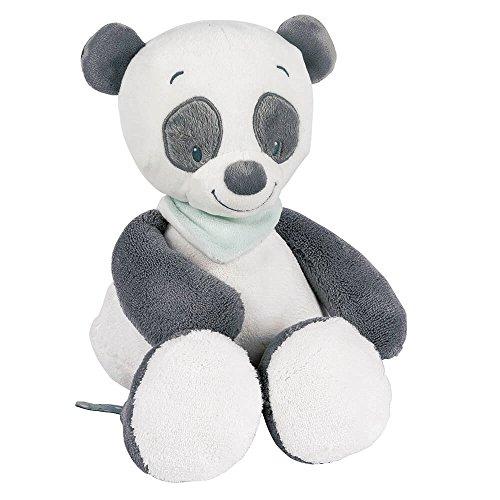 Nattou Kuscheltier für Babys, Mädchen und Jungen, 28 cm, grau - Loulou der Panda