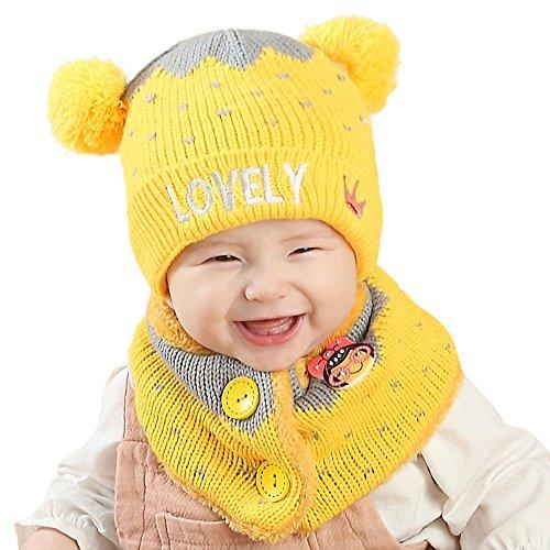 FeiliandaJJ 2PCS Mütze+Schal Baby Mütze Mädchen Jungen Wintermütze Baumwolle Plus Samt Gestrickte Häkeln Beanie Wollmütze Warmhalten Hut (Gelb) - Aus Mütze Gestrickte Baumwolle