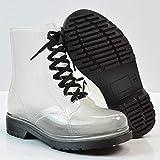Unbekannt Durchsichtiger Regenstiefel, Damen Booties, Frauen Originale Wasserdichte Regen Schuhe PVC-Stiefelmode Regen Schuhe Elastische Art Schuhe, Kurze Regenstiefel,5.5UK