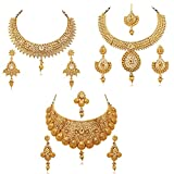 #10: Reeva Gold Plated Combo Of 3 Necklace Earring Set For Women