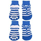 #10: Generic Striped Pet Dog Socks Paws Covers With Non-Slip Bottom -Size Xl Blue & White Striped