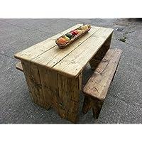 Set di tavolino da giardino con panche, Rustico in legno,