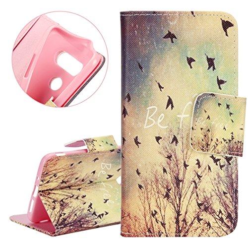 Coque pour LG G5, Etui pour LG G5, ISAKEN Élégant Style PU Cuir Flip Magnétique Portefeuille Etui Housse de Protection Coque Étui Case Cover avec Stand Support et Carte de Crédit Slot pour LG G5 (Chou Libre Oiseaux