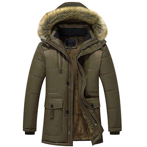 Yuandian uomo inverno taglie forti cotone imbottito cappotti parka pelliccia sintetica colletto con cappuccio addensare velluto fodera caldo antivento impermeabile giacchetto caffè 4xl