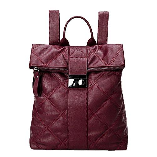 Delicate Lingge Muster Rucksack Mode Lady Bucket Rucksack Student Bag,Red-M