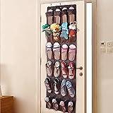 QH-Shop Tür Schuhe Lagerung, Schuhe Aufhängen Tür Nylon Mesh 24 Taschen Lagerung Bag für Schuhe Sandalen Hausschuhe Laufschuhe Flip Flops Braun