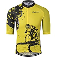 Shenshan Ciclismo Jersey Hombres Bicicleta Ropa Camiseta de la Bicicleta Top MTB Jersey Corto Manga Verano Amarillo Talla M