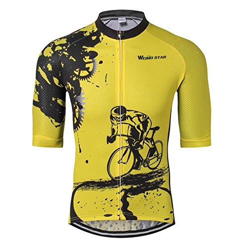 Shenshan MTB Trikot Herren Radtrikot Kurzarm Bike Jersey Reißverschluss Mountain Road Bekleidung Fahrrad-Oberteile Atmungsaktiv Sommer Pro Team Sports Radtrikot für Herren Gelb Größe L