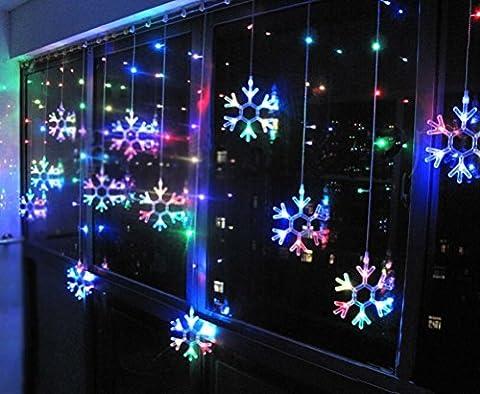 Minetom Große Schneeflocke 115er LED Lichtervorhang Lichterkette für Innen Außen