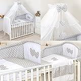Lusso 11 pezzi Set di biancheria Cuore Ricamato per letto per bambini cuscino paracolpi baldacchino (120x60cm, Grigio a pois)