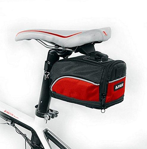 YiJee Borsa da Sellino per Bici Bicicletta con Strisce Riflettenti Impermeabile Nero Rosso