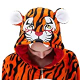 ABYED Jumpsuit Tier Karton Fasching Halloween Kostüm Sleepsuit Cosplay Fleece-Overall Pyjama Schlafanzug Erwachsene Unisex Lounge, Erwachsene Größe XL -for Höhe 175-181CM, Neuer Tiger