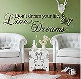 ZBYLL Wall Sticker Träume Nicht Dein Leben Geschnitzte Schmetterling Englisch Gerüchte verschönert Wand Aufkleber