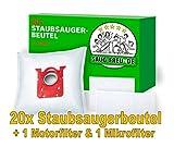 20 Staubsaugerbeutel + 2 Filter geeignet für AEG X Power VX 6.., X Power VX 7.., X Silence VX 8.., Power Force 61.., PowerForce 61.., APF 6110, APF 6130, APF 6140, APF 6160, APF6110, APF6130, APF6140,