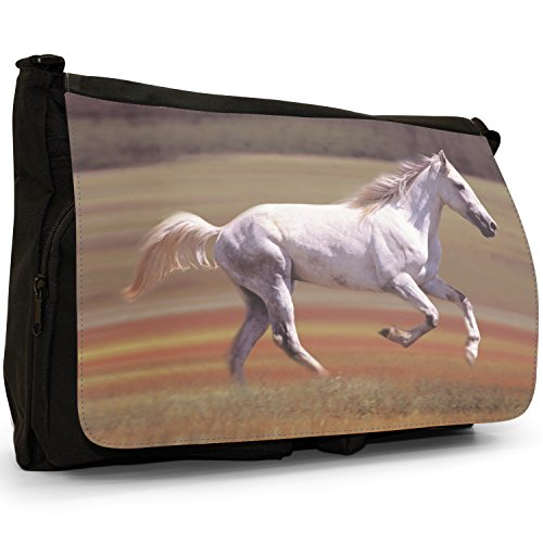 Fancy A Bag Borsa Messenger Nero Herd Of Horses Running White Horse Running In Field