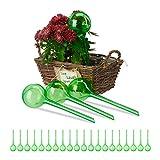 Relaxdays Set 24x Sfere per irrigazione, dosatori d'Acqua per Piante da Vaso, Ornamentali, Durata 2 Settimane, in plastica, Verde