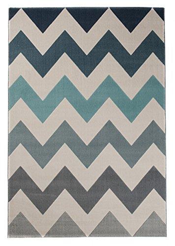 Tapiso Canvas Modern Teppich Kurzflor Designer Jugendteppich in Creme Grau Bunt mit Geometrisch Zick Zack Streifen Linien Muster Perfekt für Jugendzimmer ÖKOTEX 200 x 290 cm -