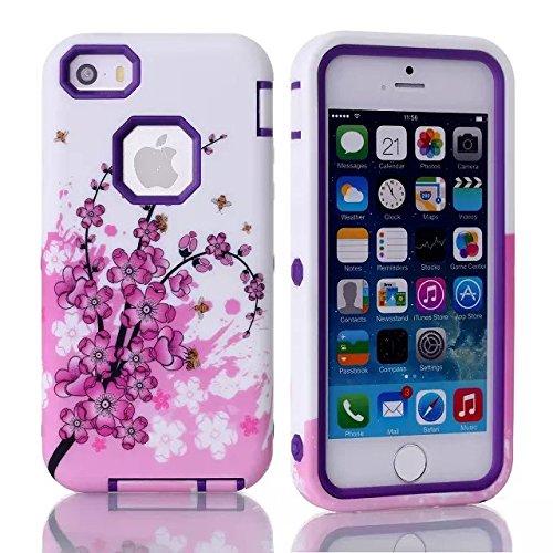 meaci (TM) Coque pour iPhone 5/5S Motif 3en 1Combo étui hybride avec motif fleur rose Lisse Luxe mensuel (Rose de type B Violet)