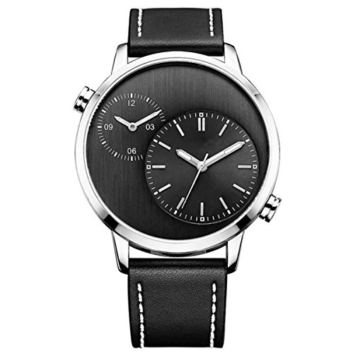 Fashion Business Casual Herren-Uhren Wasserdicht Multifunktions-Uhr Zwei Zeitzonen Shi Ying Uhr,Silver-OneSize