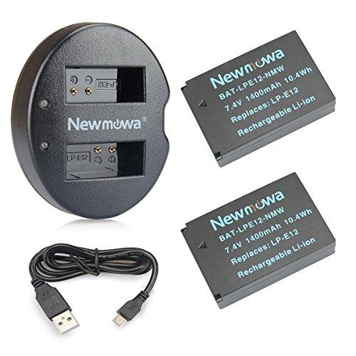 Newmowa Double USB Chargeur + 2 Remplacement Batteries LP-E12 pour Canon LP-E12 Canon EOS M M2 M10 M50 M100 M200 EOS 100D EOS Rebel SL1 EOS Kiss X7 PowerShot SX70 HS
