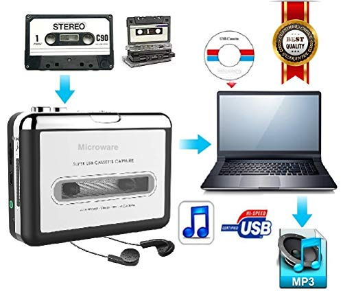 Microware Cassette Players USB Tape to Music Player Cassette to Mp3 Converter Digital Audio Recorder Convert Cassettes to Mp3 Save Into USB Flash Drive USB Cable
