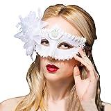 Fellibay Venezianische Masken, Masquerade Masken Frauen Karneval Party Maske Eye Kostüm Mardi Maske mit Feder Blumen für Party