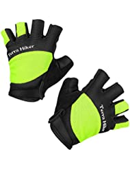 Terra Hiker guantes de ciclismo, mitones de ciclismo, lazos de fácil tracción, resistente a la abrasión, absorbe los impactos (Verde L)