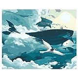 SDFGS Dipinti Ad Olio Decorativi di Cavalli E Gatti in Salotto per Numero Pittura Fai da Te per Numero_ Pittura Balena-40X50Cm-Incorniciato