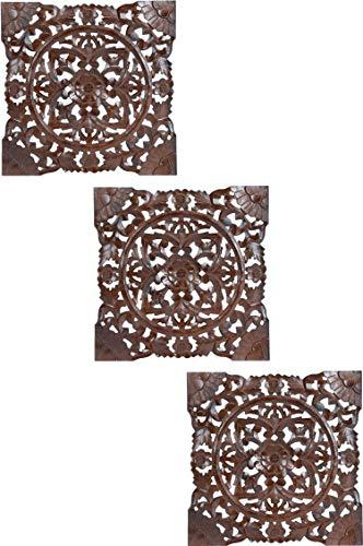 3er Set Orientalisches Wandbild Wanddeko Bahir Braun 40cm aus Holz | Orientalische Vintage Wanddekoration Für Wohnzimmer, Schlafzimmer oder Küche | marokkanisches Design als Dekoration