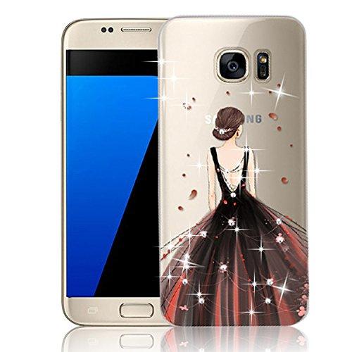 Vandot Etui Transparent Case pour Samsung Galaxy S7 Edge Coque de Protection en TPU Gel Invisible avec Absorption de Chocs Etui TPU Silicone Case Ultra Slim Thin Hull pour Samsung Galaxy S7 Edge Soupl Robe-Brun